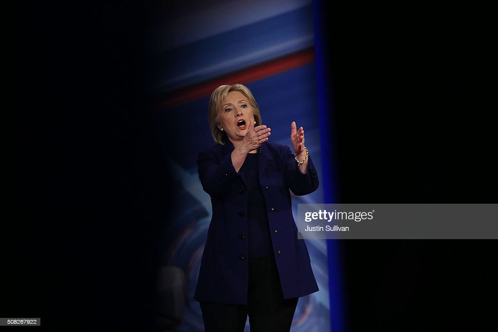 Democratic Presidential candidates Hillary Clinton speaks during a CNN and the New Hampshire Democratic Party hosted Democratic Presidential Town Hall at the Derry Opera House on February 3, 2016 in Derry, New Hampshire. Democratic and Republican Presidential are stumping for votes throughout New Hampshire leading up to the Presidential Primary on February 9th.