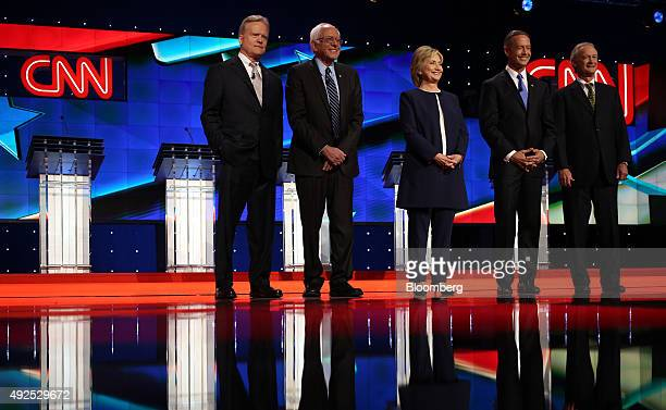 Democratic presidential candidates including Jim Webb former Senator from Virginia from left to right Senator Bernie Sanders an independent from...