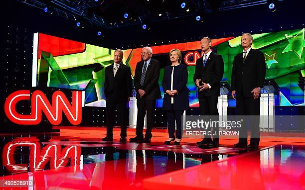 Democratic Presidential candidates Jim Webb, Bernie Sanders, Hillary Rodham Clinton, Martin O'Malley, and Lincoln Chafee take the stage during the...