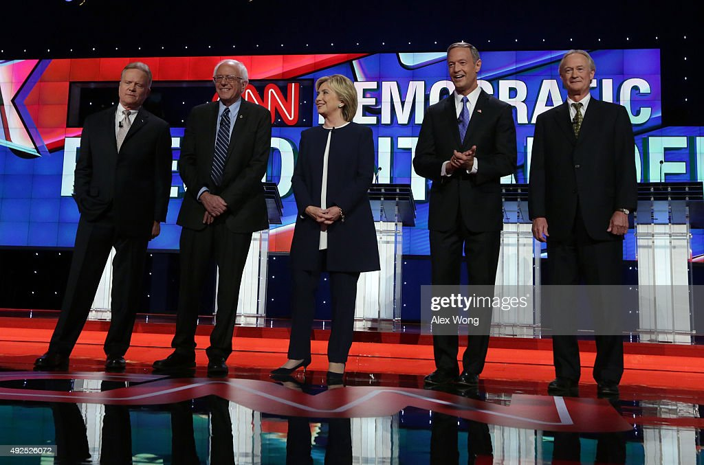 Democratic presidential candidates Jim Webb, Sen. Bernie Sanders (I-VT), Hillary Clinton, Martin O'Malley and Lincoln Chafee take the stage for a presidential debate sponsored by CNN and Facebook at Wynn Las Vegas on October 13, 2015 in Las Vegas, Nevada. The five candidates are participating in the party's first presidential debate.