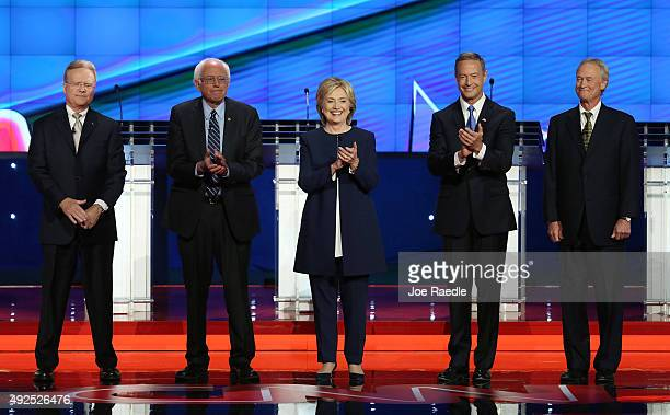 Democratic presidential candidates Jim Webb Sen Bernie Sanders Hillary Clinton Martin O'Malley and Lincoln Chafee take the stage for a presidential...