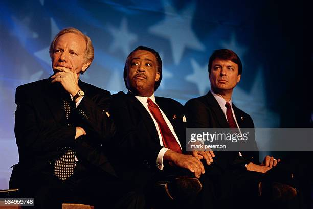 Democratic Presidential candidates listening to a speaker at the NARAL prochoice dinner in Washington DC in January 2003 From left to right Senator...