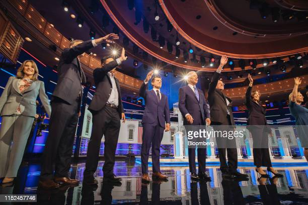 Democratic presidential candidates Marianne Williamson author from left John Hickenlooper former governor of Colorado Andrew Yang founder of Venture...