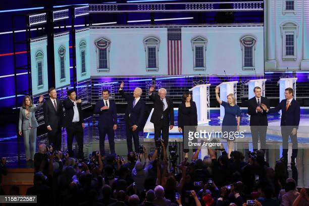 Democratic presidential candidates Marianne Williamson former Colorado governor John Hickenlooper former tech executive Andrew Yang South Bend...