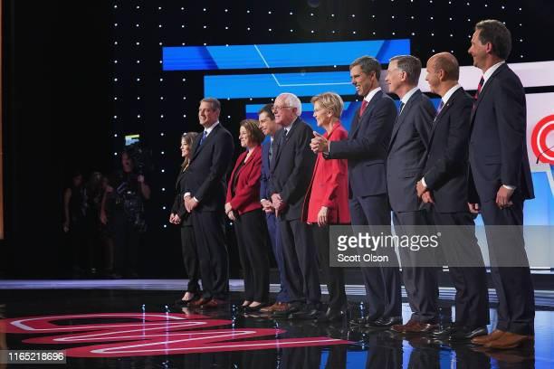 Democratic presidential candidates Marianne Williamson, , Rep. Tim Ryan , Sen. Amy Klobuchar , Indiana Mayor Pete Buttigieg, Sen. Bernie Sanders ,...