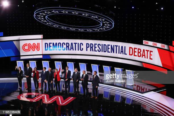 Democratic presidential candidates Marianne Williamson, , Rep. Tim Ryan , Sen. Amy Klobuchar , Indiana Mayor Pete Buttigieg, Sen. Bernie Sanders ,...