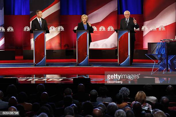Democratic presidential candidates Martin O'Malley former governor of Maryland from left Hillary Clinton former Secretary of State and Senator Bernie...
