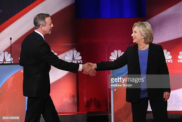 Democratic presidential candidates Martin O'Malley greets Hillary Clinton following the Democratic Candidates Debate hosted by NBC News and YouTube...