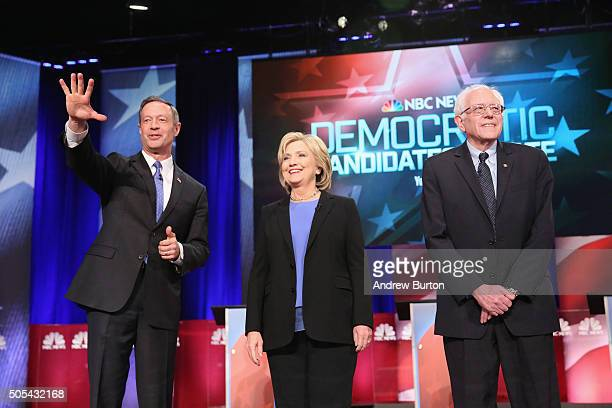 Democratic presidential candidates Martin OMalley Hillary Clinton and Senator Bernie Sanders participate in the Democratic Candidates Debate hosted...