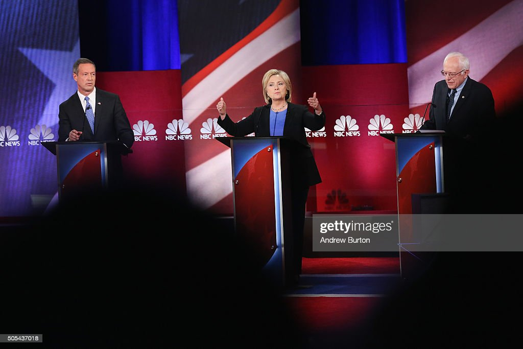 Democratic presidential candidates Martin OMalley (L), Hillary Clinton (C) and Senator Bernie Sanders (I-VT) participate in the Democratic Candidates Debate hosted by NBC News and YouTube on January 17, 2016 in Charleston, South Carolina. This is the final debate for the Democratic candidates before the Iowa caucuses.