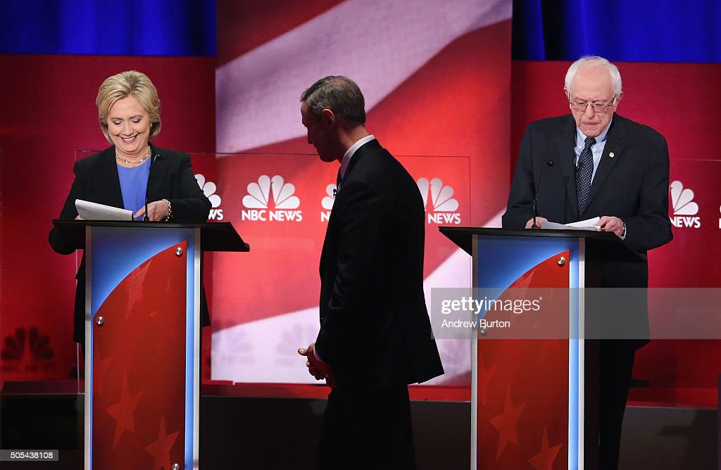 Democratic presidential candidates Martin OMalley (C), Hillary Clinton (L) and Senator Bernie Sanders (I-VT) participate in the Democratic Candidates Debate hosted by NBC News and YouTube on January 17, 2016 in Charleston, South Carolina. This is the final debate for the Democratic candidates before the Iowa caucuses.
