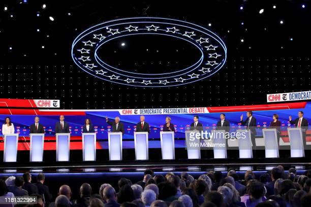 Democratic presidential candidates Rep. Tulsi Gabbard , billionaire Tom Steyer, Sen. Cory Booker , Sen. Kamala Harris , Sen. Bernie Sanders , former...
