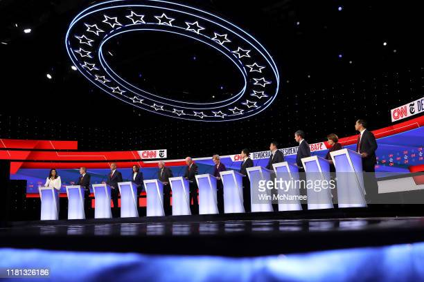 Democratic presidential candidates Rep Tulsi Gabbard billionaire Tom Steyer Sen Cory Booker Sen Kamala Harris Sen Bernie Sanders former Vice...