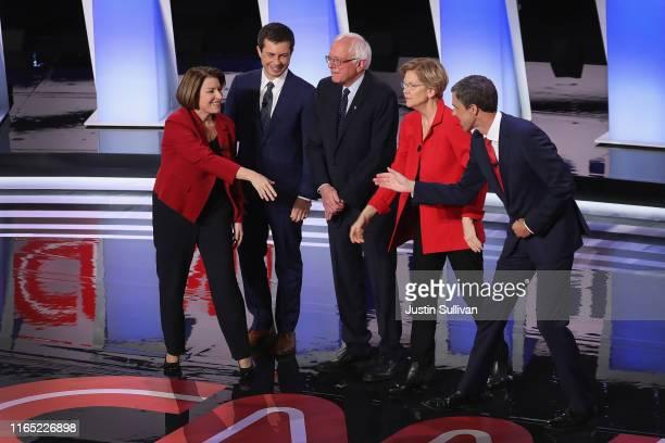Democratic presidential candidates Sen Amy Klobuchar Indiana Mayor Pete Buttigieg Sen Bernie Sanders Sen Elizabeth Warren and former Texas...