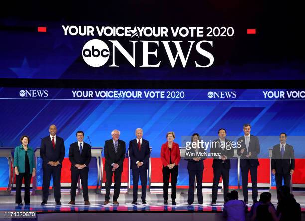 Democratic presidential candidates Sen Amy Klobuchar Sen Cory Booker South Bend Indiana Mayor Pete Buttigieg Sen Bernie Sanders former Vice President...