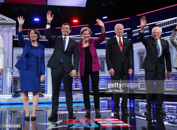 Democratic presidential candidates Sen Amy Klobuchar South Bend Indiana Mayor Pete Buttigieg Sen Elizabeth Warren former Vice President Joe Biden and...
