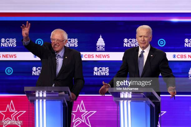 Democratic presidential candidates Sen Bernie Sanders and former Vice President Joe Biden participate in the Democratic presidential primary debate...