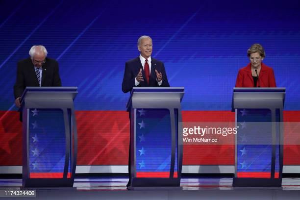 Democratic presidential candidates Sen. Bernie Sanders , former Vice President Joe Biden and Sen. Elizabeth Warren during the Democratic Presidential...