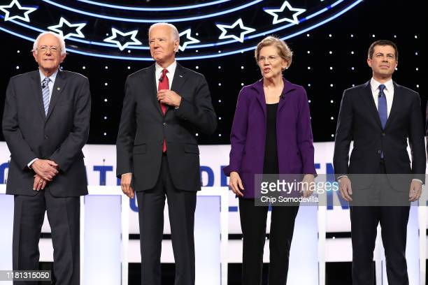 Democratic presidential candidates Sen Bernie Sanders former Vice President Joe Biden Sen Elizabeth Warren and South Bend Indiana Mayor Pete...