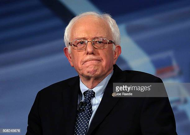 Democratic Presidential candidates Sen Bernie Sanders looks on during a CNN and the New Hampshire Democratic Party hosted Democratic Presidential...