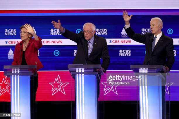 Democratic presidential candidates Sen Bernie Sanders Sen Elizabeth Warren and former Vice President Joe Biden participate the Democratic...