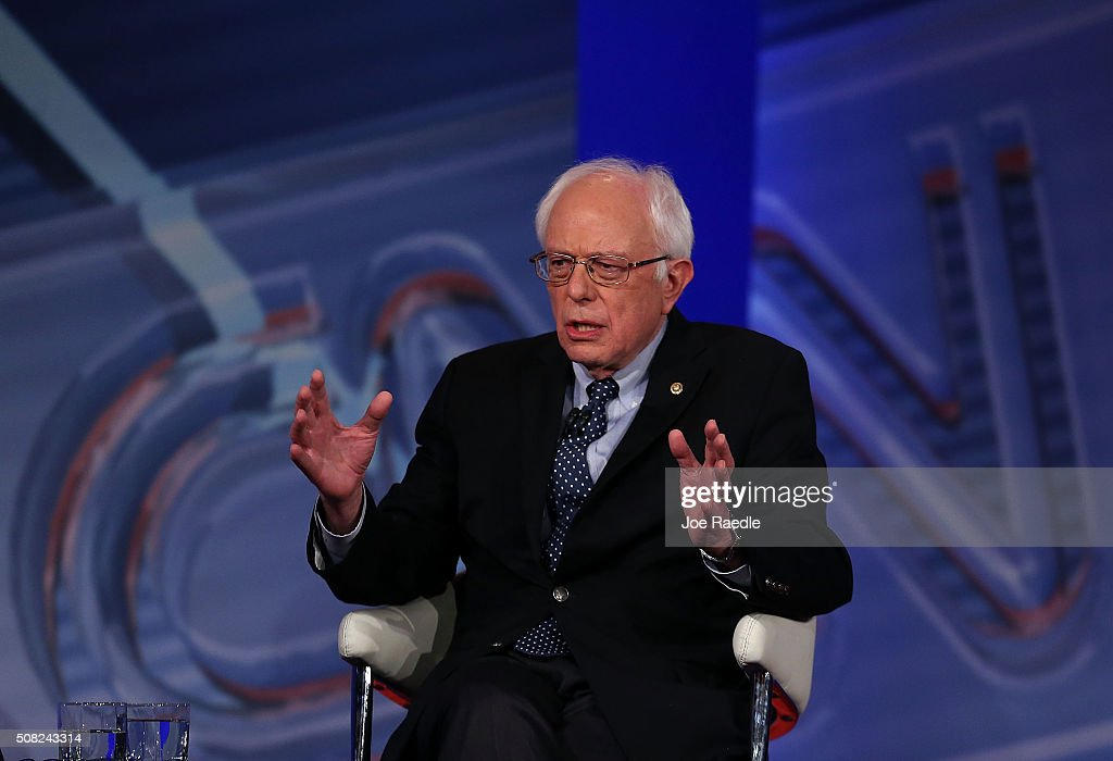 Democratic Presidential candidates Sen. Bernie Sanders speaks during a CNN and the New Hampshire Democratic Party hosted Democratic Presidential Town Hall at the Derry Opera House on February 3, 2016 in Derry, New Hampshire. Democratic and Republican Presidential are stumping for votes throughout New Hampshire leading up to the Presidential Primary on February 9th.