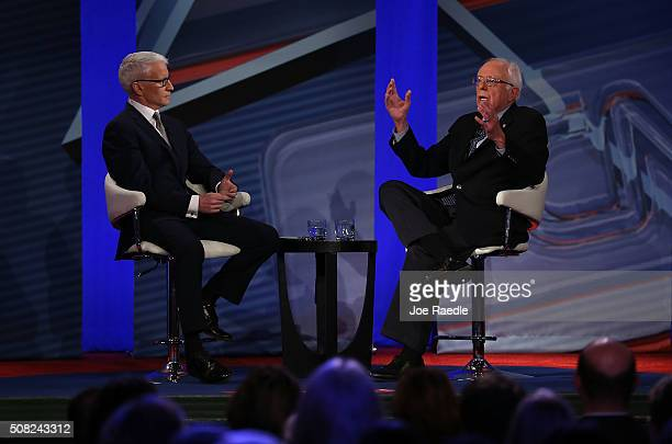 Democratic Presidential candidates Sen Bernie Sanders talks with CNN anchor Anderson Cooper during a CNN and the New Hampshire Democratic Party...