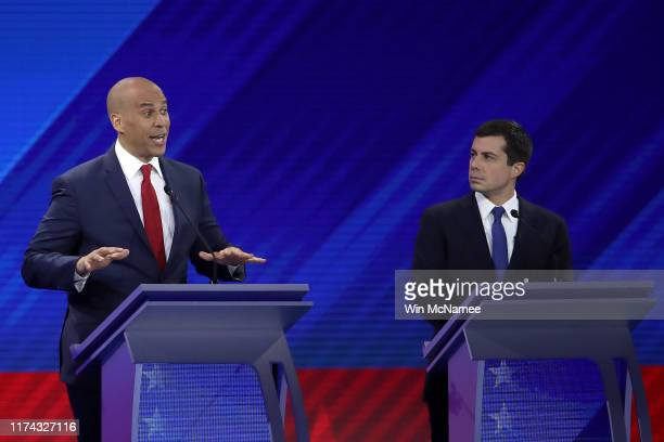 Democratic presidential candidates Sen. Cory Booker and South Bend, Indiana Mayor Pete Buttigieg interact during the Democratic Presidential Debate...