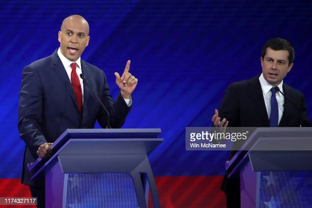 Democratic presidential candidates Sen Cory Booker and South Bend Indiana Mayor Pete Buttigieg interact during the Democratic Presidential Debate at...