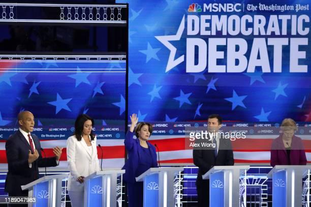 Democratic presidential candidates Sen Cory Booker Rep Tulsi Gabbard Sen Amy Klobuchar South Bend Indiana Mayor Pete Buttigieg and Sen Elizabeth...