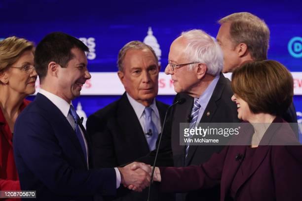 Democratic presidential candidates Sen Elizabeth Warren former South Bend Indiana Mayor Pete Buttigieg former New York City Mayor Mike Bloomberg Sen...