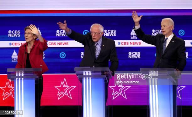 Democratic presidential candidates Sen Elizabeth Warren Sen Bernie Sanders and former Vice President Joe Biden participate the Democratic...