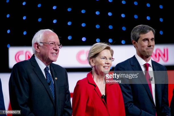 Democratic Presidential Candidates Senator Bernie Sanders an independent from Vermont left to right Senator Elizabeth Warren a Democrat from...