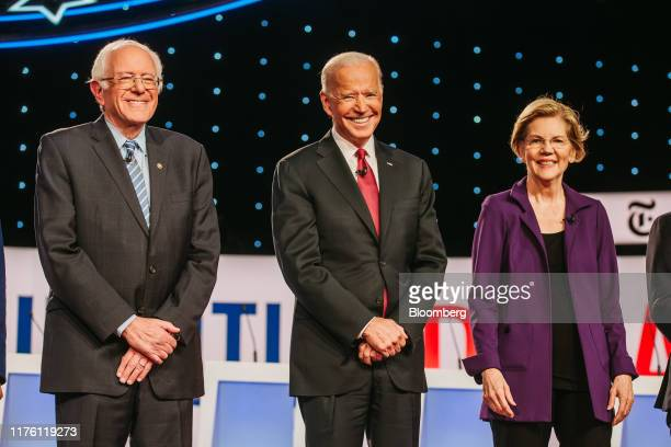 Democratic presidential candidates Senator Bernie Sanders an independent from Vermont from left former US Vice President Joe Biden and Senator...