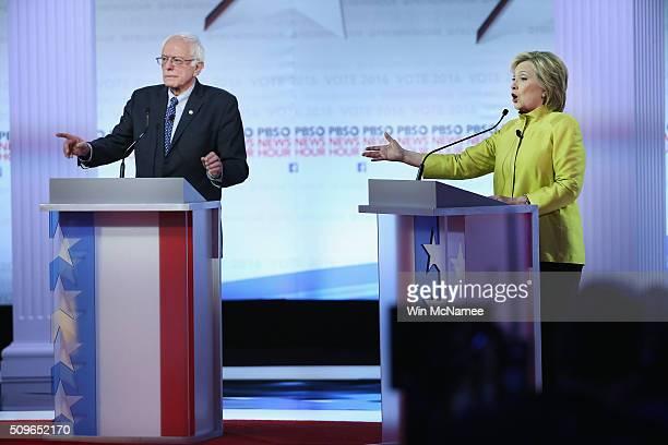 Democratic presidential candidates Senator Bernie Sanders and Hillary Clinton participate in the PBS NewsHour Democratic presidential candidate...