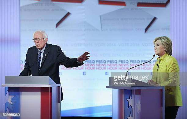 Democratic presidential candidates Senator Bernie Sanders and Hillary Clinton participate in the PBS NewsHour Democratic presidential candidate...