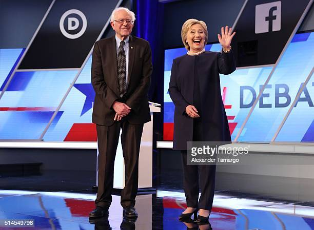 Democratic presidential candidates Senator Bernie Sanders and Democratic presidential candidate Hillary Clinton are seen before the Univision News...