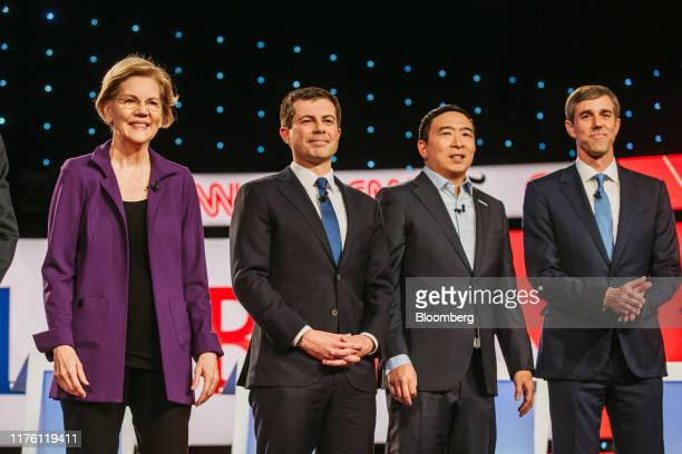 Democratic presidential candidates Senator Elizabeth Warren, a Democrat from Massachusetts, from left, Pete Buttigieg, mayor of South Bend, Andrew...