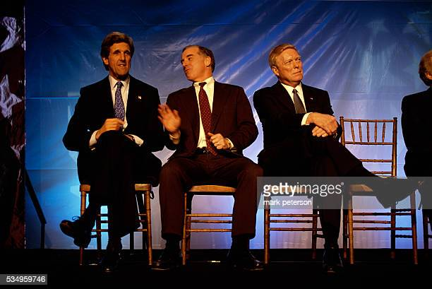 Democratic Presidential candidates sitting on a stage at the NARAL prochoice dinner in Washington DC in January 2003 From left to right Senator John...