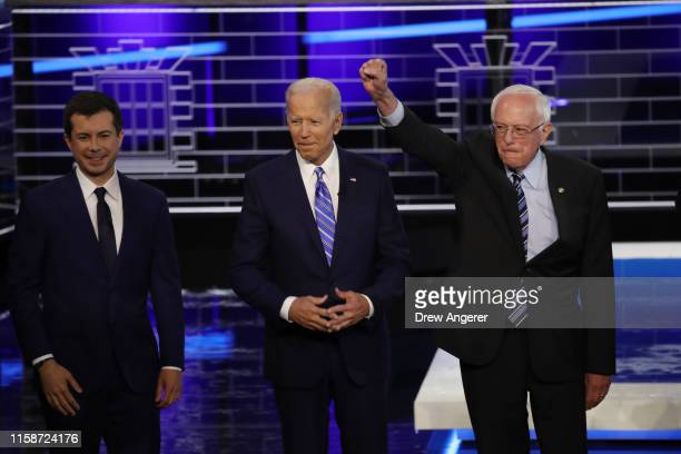 Democratic presidential candidates South Bend Indiana Mayor Pete Buttigieg former Vice President Joe Biden and Sen Bernie Sanders take the stage for...