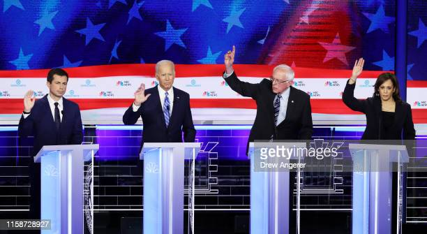 Democratic presidential candidates South Bend Indiana Mayor Pete Buttigieg former Vice President Joe Biden Sen Bernie Sanders and Sen Kamala Harris...