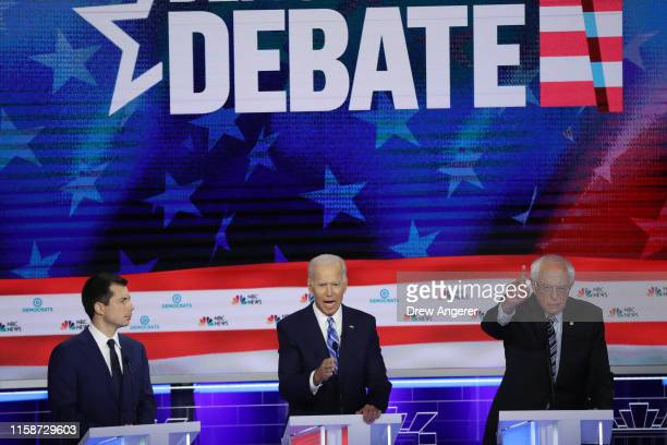 Democratic presidential candidates South Bend Indiana Mayor Pete Buttigieg former Vice President Joe Biden and Sen Bernie Sanders take part in the...