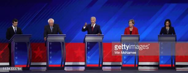 Democratic presidential candidates South Bend Indiana Mayor Pete Buttigieg Sen Bernie Sanders former Vice President Joe Biden Sen Elizabeth Warren...