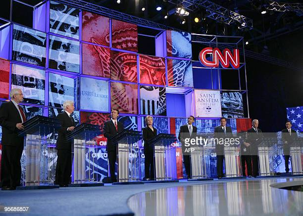 Democratic presidential candidates stand at their respective podiums during the Democratic Presidential Candidates Debate 03 June 2007 at Saint...