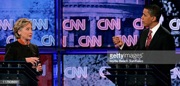 Democratic presidential candidates US Sen Hillary Clinton and US Sen Barack Obama exchange heated remarks during a debate sponsored by the...