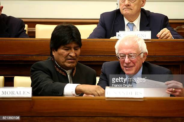 S Democratic presidential canditate Bernie Sanders sits with Bolivia's President Evo Morales during 'Centesimus Annus 25 Years Later Symposiumon' at...