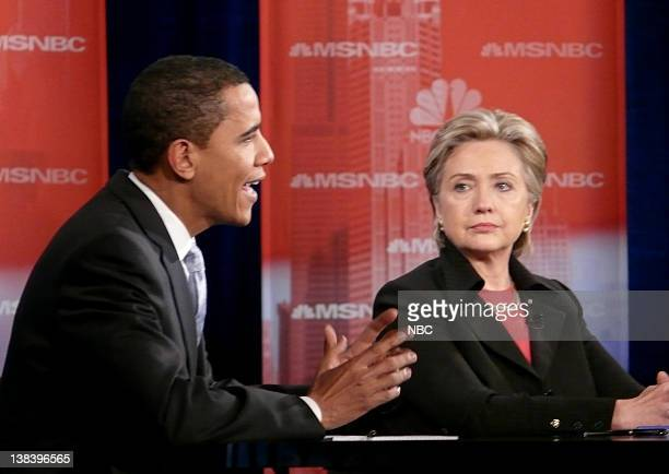 NBC NEWS Democratic Presidential Debate Pictured Senator Barack Obama and Senator Hillary Rodham Clinton during the second Democratic presidential...
