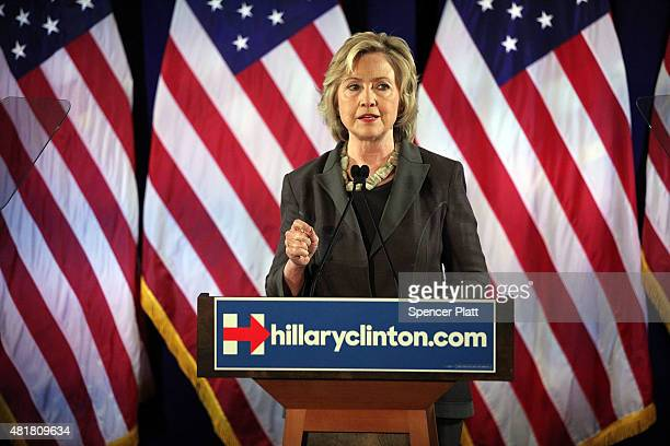 Democratic presidential frontrunner Hillary Clinton gives an economic speech at New York University on July 24 2015 in New York City It has been...