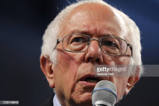 Democratic presidential frontrunner Senator Bernie Sanders speaks to supporters on February 27 2020 in Spartanburg South Carolina Sanders a self...