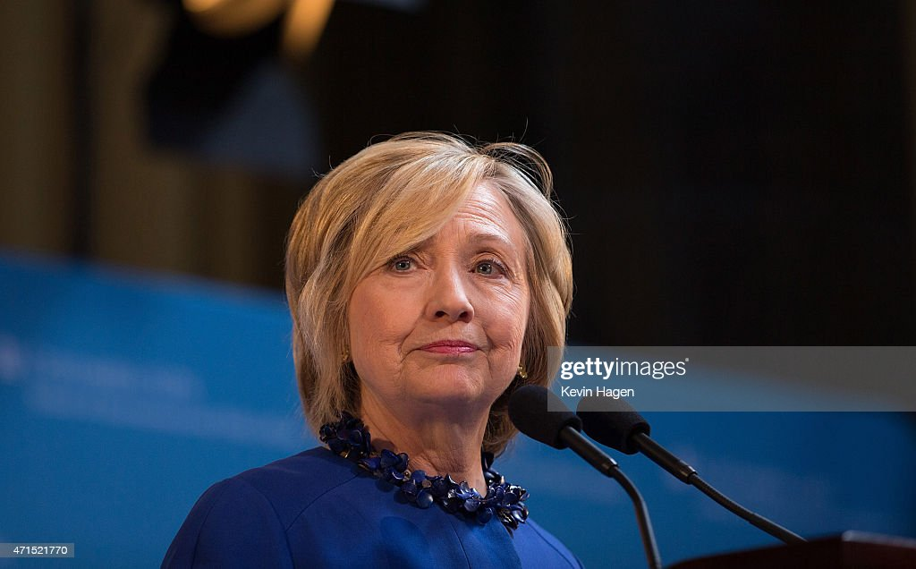 Democratic presidential hopeful and former Secretary of State Hillary Clinton speaks during the David N. Dinkins Leadership and Public Policy Forum at Columbia University April 29, 2015 in New York City. Clinton addressed the unrest in Baltimore, called for police body cameras and a reform to sentencing.
